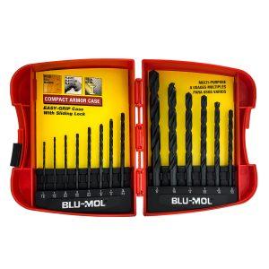 Blu-Mol Oxide Drill Bit Sets Plastic case Black 14-Piece